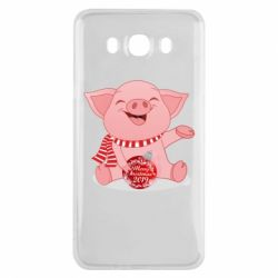 Чохол для Samsung J7 2016 Funny pig with a Christmas toy