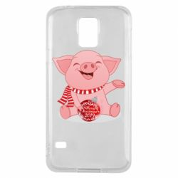 Чохол для Samsung S5 Funny pig with a Christmas toy