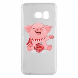Чохол для Samsung S6 EDGE Funny pig with a Christmas toy