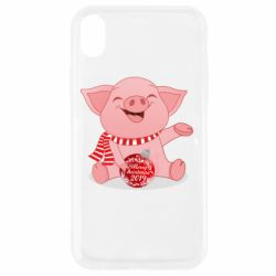 Чохол для iPhone XR Funny pig with a Christmas toy