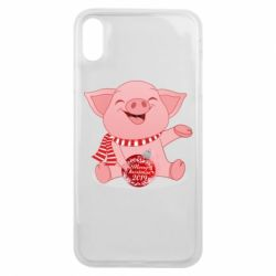 Чохол для iPhone Xs Max Funny pig with a Christmas toy