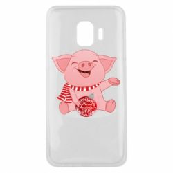 Чохол для Samsung J2 Core Funny pig with a Christmas toy