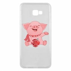 Чохол для Samsung J4 Plus 2018 Funny pig with a Christmas toy