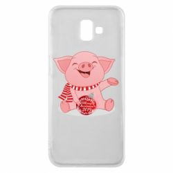 Чохол для Samsung J6 Plus 2018 Funny pig with a Christmas toy