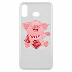 Чохол для Samsung A6s Funny pig with a Christmas toy