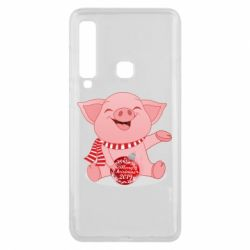 Чохол для Samsung A9 2018 Funny pig with a Christmas toy
