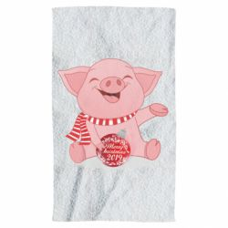 Рушник Funny pig with a Christmas toy