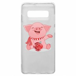 Чохол для Samsung S10+ Funny pig with a Christmas toy