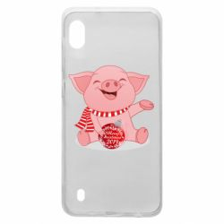 Чохол для Samsung A10 Funny pig with a Christmas toy