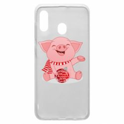 Чохол для Samsung A20 Funny pig with a Christmas toy