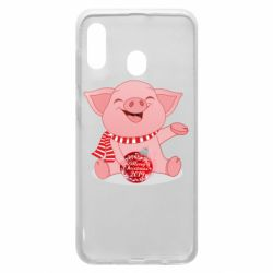 Чохол для Samsung A30 Funny pig with a Christmas toy