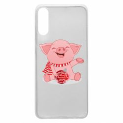 Чохол для Samsung A70 Funny pig with a Christmas toy