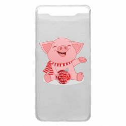 Чохол для Samsung A80 Funny pig with a Christmas toy