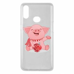 Чохол для Samsung A10s Funny pig with a Christmas toy