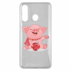 Чохол для Samsung M40 Funny pig with a Christmas toy
