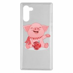 Чохол для Samsung Note 10 Funny pig with a Christmas toy