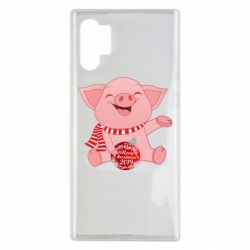 Чохол для Samsung Note 10 Plus Funny pig with a Christmas toy