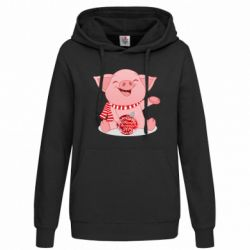 Толстовка жіноча Funny pig with a Christmas toy