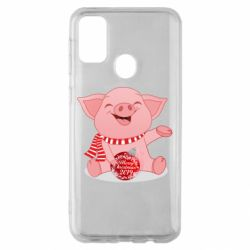 Чохол для Samsung M30s Funny pig with a Christmas toy
