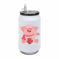 Термобанка 350ml Funny pig with a Christmas toy