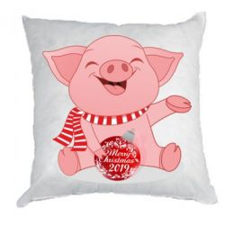 Подушка Funny pig with a Christmas toy