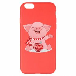 Чохол для iPhone 6 Plus/6S Plus Funny pig with a Christmas toy