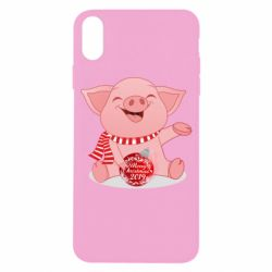 Чохол для iPhone X/Xs Funny pig with a Christmas toy