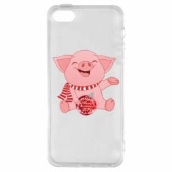Чохол для iphone 5/5S/SE Funny pig with a Christmas toy