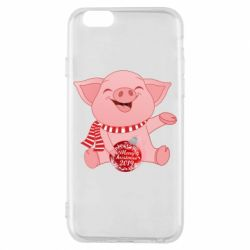 Чохол для iPhone 6/6S Funny pig with a Christmas toy