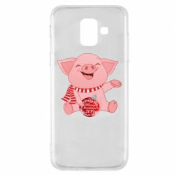 Чохол для Samsung A6 2018 Funny pig with a Christmas toy
