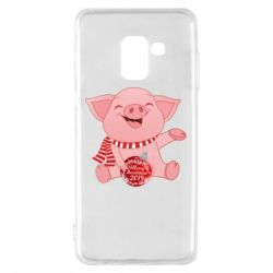 Чохол для Samsung A8 2018 Funny pig with a Christmas toy