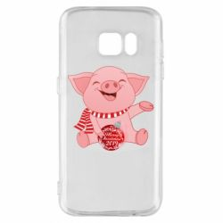 Чохол для Samsung S7 Funny pig with a Christmas toy