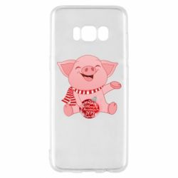 Чохол для Samsung S8 Funny pig with a Christmas toy