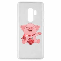 Чохол для Samsung S9+ Funny pig with a Christmas toy