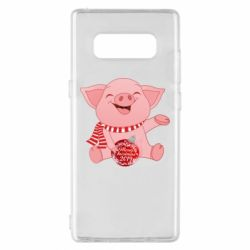 Чохол для Samsung Note 8 Funny pig with a Christmas toy
