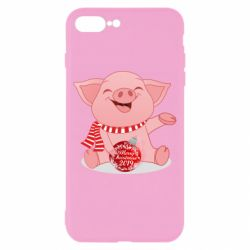 Чохол для iPhone 8 Plus Funny pig with a Christmas toy