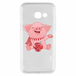 Чохол для Samsung A3 2017 Funny pig with a Christmas toy