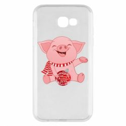 Чохол для Samsung A7 2017 Funny pig with a Christmas toy