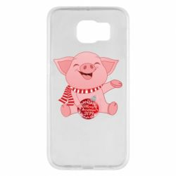 Чохол для Samsung S6 Funny pig with a Christmas toy