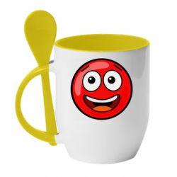 Кружка з керамічною ложкою Funny Red Ball