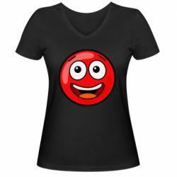 Жіноча футболка з V-подібним вирізом Funny Red Ball