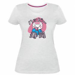 Женская стрейчевая футболка Funny sushi
