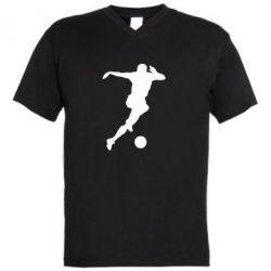 Мужская футболка  с V-образным вырезом Футбол - FatLine