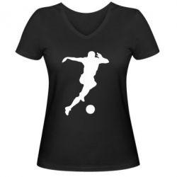 Женская футболка с V-образным вырезом Футбол - FatLine