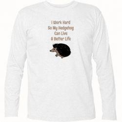 Футболка с длинным рукавом Hedgehog with text