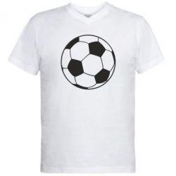 Мужская футболка  с V-образным вырезом Футбольный мяч - FatLine