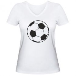 Женская футболка с V-образным вырезом Футбольный мяч - FatLine