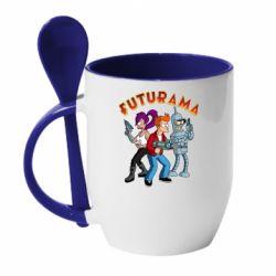 Кружка з керамічною ложкою Футурама герої