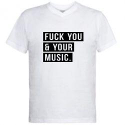 Мужская футболка  с V-образным вырезом FY & YM
