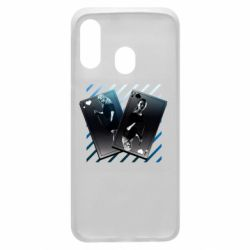 Чехол для Samsung A40 Gambling Cards The Witcher and Cyrilla